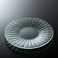 g3103-30-1 φ20.2うす青放射模様ガラス皿