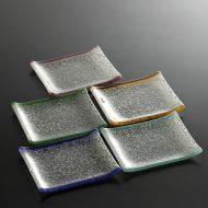 g3119y-15-1 14.3x9.5白ちぎりもようガラス長皿 紫、黄、赤、青、緑、黄緑