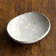 w1009粉引楕円灰色皿