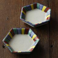 w1082縁色彩六角豆皿