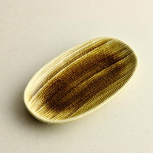 w1103y楕円筋目豆皿 茶