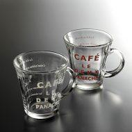 y6098-20-2 10.5x8.3x8.5ガラス製カフェ文字入りカップ 茶 白