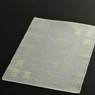 b1011-25-1 43.5×32.0水色角クリーム柄縦織目和ランチョン