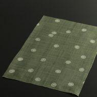 b1078-50-1 44.5×32.0Madu草色白渦巻き柄麻ランチョン