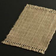 b1128-20-1 28.0×17.7薄茶荒織り房つきランチョン