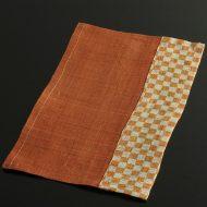 b1143-25-1 24.5×14.7オレンジ/市松オレンジ柄麻ミニランチョン