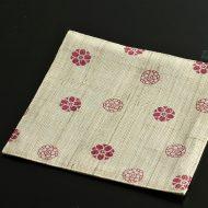 b1148-25-1 17.0×17.0幡 白ピンク花紋麻ランチョン