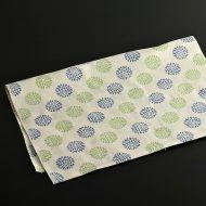 b3026-30-1 89.5x34.0ベージュに青と緑の菊柄手ぬぐい