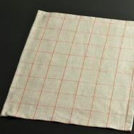 b5088-20-1 46.0×36.0ぐれーに細オレンジチェックランチョン