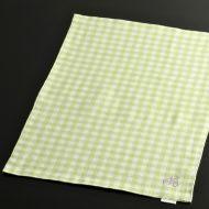 b5099-45-1 44.5×32.5黄緑白両面ランチョン((チェックとストライプ)