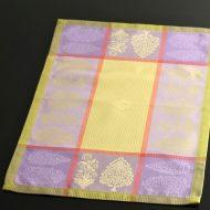 b5132-50-1 54.5×38.0ジャガード織り紫からし色チェックランチョン
