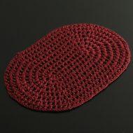 b5152-20-1 27.5×19.0エンジ楕円麻糸レース編みドイリー