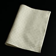 b5194-30-2 45.0×34.5ベージュチェック麻ランチョン