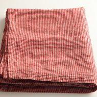 b6067 FABRIC'S赤/グレーギンガム麻クロス