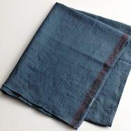 b6208-70-1 176x70藍色片側ライン麻ストール