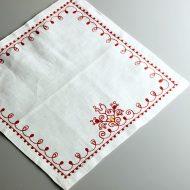 b7242-65-1 33.0x33.0ヴィラモスキー刺繍(赤)麻白ナフキン