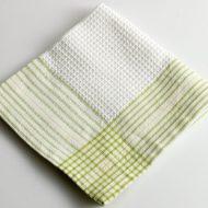b7253-15-1 34x34縁黄緑ラインワッフルナフキン