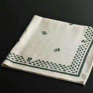 b8091-40-1 65.0×67.0LIBECOベージュ緑花柄縁飾りキッチンクロス