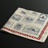 b8094-35-1 67.0×64.0アンエtィークポスター柄赤ラインキッチンクロス