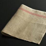 b8101-25-1 56.0×35.0麻コーヒー色赤ラインキッチンクロスハーフ