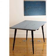 b9593-900-1 D61xW93xH57アンティーク青テーブル