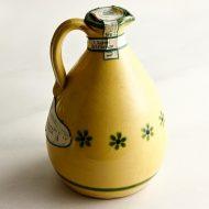 c1072-100-1 φ8.8x16.8φ6.8x13.0オリーブオイル陶器 黄 白オリーブ柄