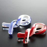 d4158-15-2 5.5x2.5色ガラス製ねじりはし置き 赤 青