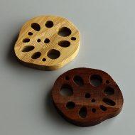 d4166-20-2 4.2x3.5木製れんこんはし置き 茶 木目