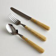 d5040-20-6 f20.4x2.5他白木2点留め丸削りナイフ、フォークスプーン