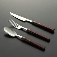 d5088-20-3 s19.2x2.8他ローズ色木製持ち手ナイフ・フォーク・スプーン