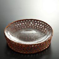 g3117y 赤茶亀甲上げ底盛りざる(ガラス皿入り)