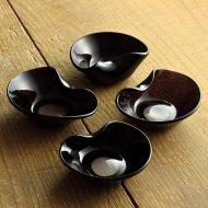 g4046-60-1 約8.8x7.2x2.8あずきガラス楕円箸置き豆鉢(西山芳浩)
