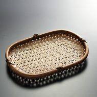 k1094-100-1 28.0×19.5×3.0茶つやあり亀甲編み小判ざる