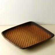 k1108-450-1 57.0×57.0×6.5こげ茶正方角盆かご