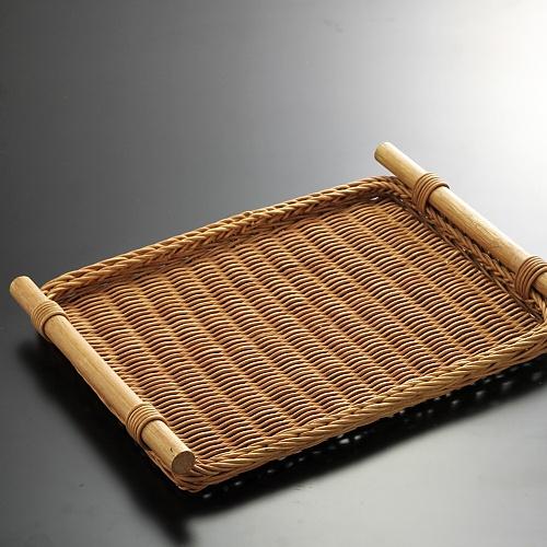 k2063-55-1 38.0×28.3藤両手付茶トレー