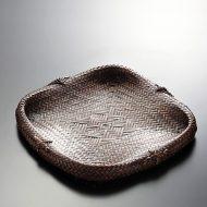 k3013-35-1 24.5×24.0茶色編み皿