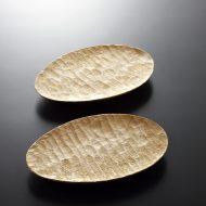 k4505-45-2 14.5x10.0木製楕円手彫り皿