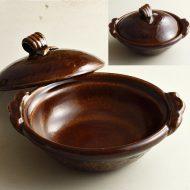 n1002-360-1 25.5×23.0×7.3雲井窯 飴釉蓋木の葉七寸土鍋