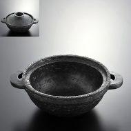 n1003-350-1 30.8×24.0×10.0黒いぶしたたきめ土鍋
