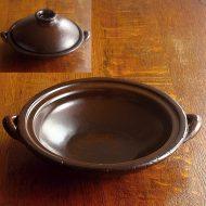 n1006-250-1 29.8×25.0×5.7アメ色浅土鍋