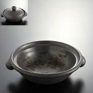 n1009-150-1 26.5×23.5×7.0つやなし黒土鍋