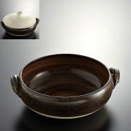 n1016-150-1 28.0×24.5×8.5茶ふた粉引き土鍋