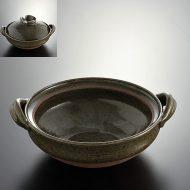 n1032-250-1 29.3×24.4×8.8濃緑土鍋