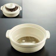 n1038-90-1 25.3×21.8×8.0白ふた茶刷毛目IH対応土鍋