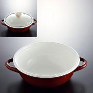 n1234-120-1 28.0x22.5x7.7赤ホーロー鍋(ガラスふた付)