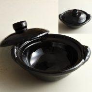 n1409-300-1 22.0×19.5×6.6雲井窯 鴨釉(濃茶)六寸土鍋