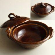 n1410-300-1 22.0×19.5×6.6雲井窯 飴釉蓋木の葉六寸土鍋