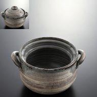n1416-150-1 22.3×18.0×11.6灰色刷毛目ご飯土鍋