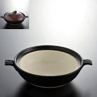 n1428-80-1 24.3×19.2×6.2黒中白ふた艶茶色土鍋小