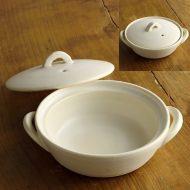 n1435-80-1 18.3×15.5×4.5白釉薬土鍋小